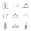 Love relationship icons set, outline style