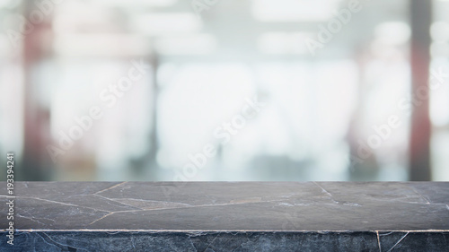 Empty Black Stone Marble Table Top And Blurred Abstract Background From  Interior Office Building Background