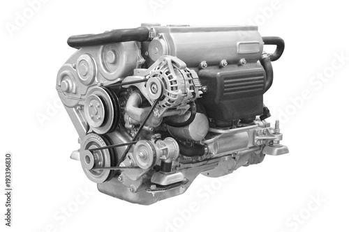 Photo  The image of an engine under the white background