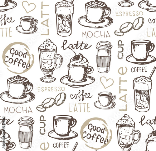 Ręcznie rysowane doodle kawy wzór