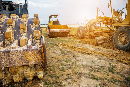 heavy machinery at construction site