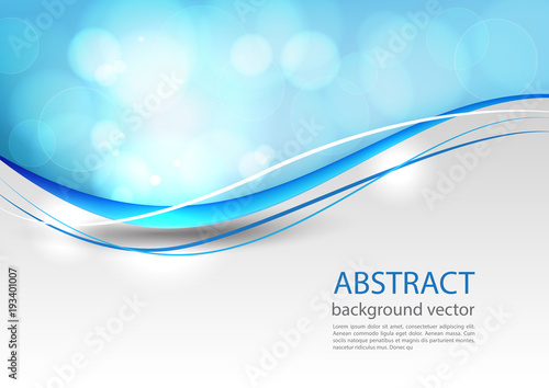 Poster Abstract wave Blue line abstract background. Vector illustration.