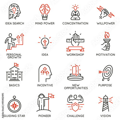 Fotografia  Vector set of linear icons related to skills, empowerment leadership development, qualities of a leader and willpower