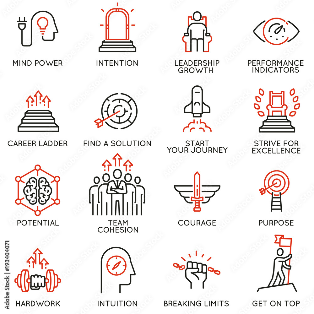 Fototapeta Vector set of linear icons related to skills, empowerment leadership development, qualities of a leader and willpower. Mono line pictograms and infographics design elements - part 3