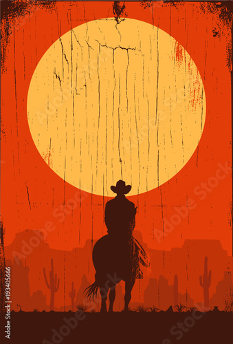 Silhouette of lonesome cowboy riding horse at sunset, Vector Illustration