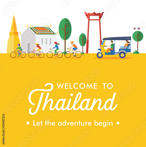 Canvas Print Flat design, Welcome to Thailand Banner, Vector Illustration