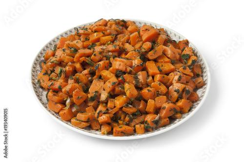 Staande foto Klaar gerecht Moroccan dish with carrot salad and herbs