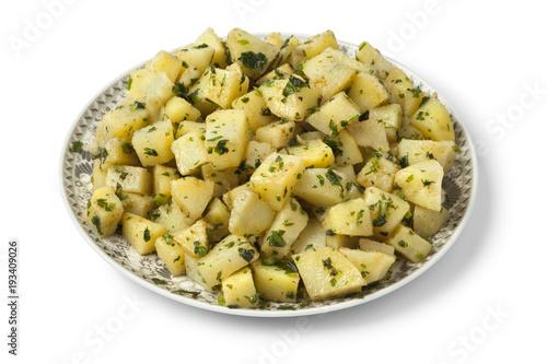 Plakat Marokańskie danie z sałatką ziemniaczaną i ziołami