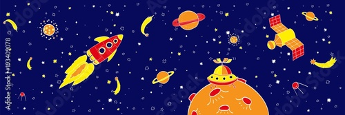 Foto op Canvas Kosmos Hand drawing space illustration vector.