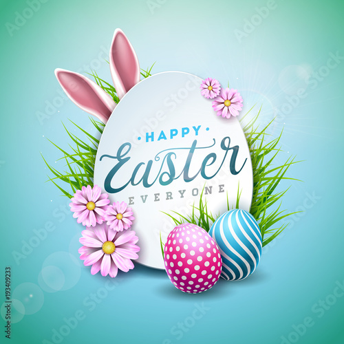 Vector Illustration of Happy Easter Holiday with Painted Egg, Rabbit Ears and Flower on Shiny Blue Background Wallpaper Mural