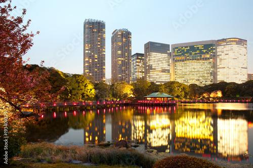 Hamarikyu (also Hama Rikyu) Public Gardens and modern skyscrapers of Shiodome Area, Chuo Ward, Tokyo, Kanto Region, Honshu, Japan
