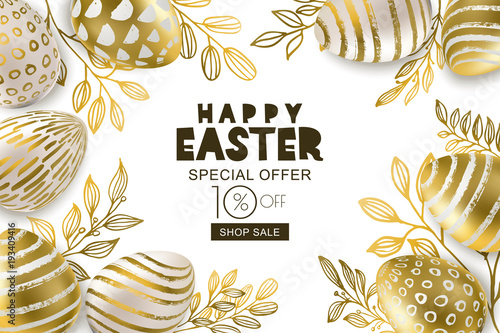 Happy easter sale banner vector holiday frame golden 3d eggs with happy easter sale banner vector holiday frame golden 3d eggs with hand painted decoration stopboris Images