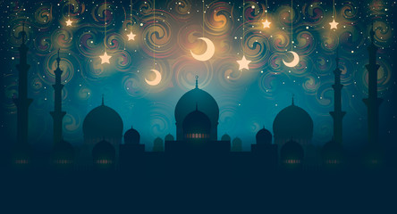 Islam. Magical oriental night on vector picture. Vector illustration of fanta...