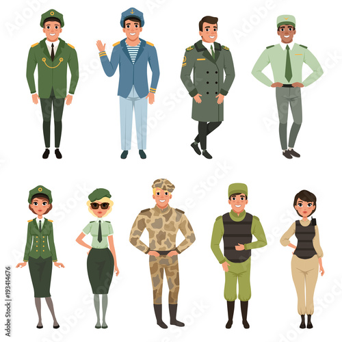 Leinwand Poster Military uniforms set, Military army officer, commander, soldier, , pilot, troop
