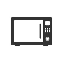 Microwave Icon. Microwave Vector Isolated On White Background. Flat Vector Illustration In Black. EPS 10
