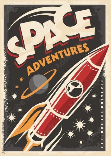 kosmiczne-przygody-retro-plakat-z-czerwona-rakieta