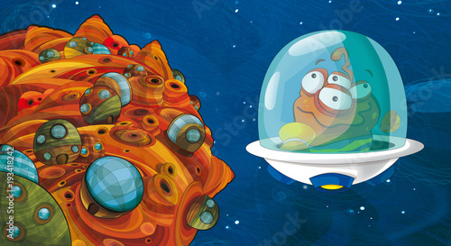 Cadres-photo bureau Cosmos cartoon scene with some funny looking alien flying in ufo vehicle near some planet - white background - illustration for children