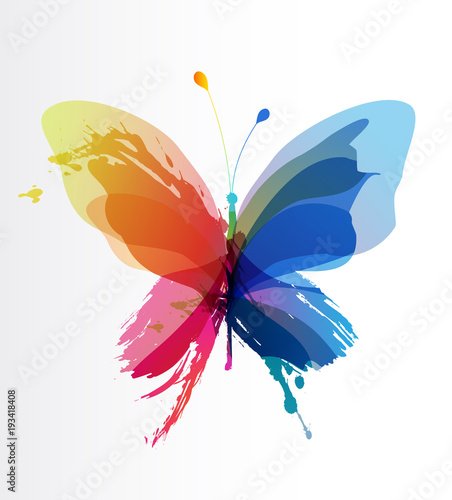 Printed kitchen splashbacks Butterflies in Grunge Colorful butterfly created from splash and colored objects.