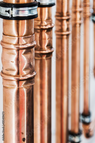 Cuadros en Lienzo copper pipes and fittings for carrying out plumbing work.