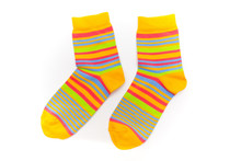 Striped Socks On A White Backg...