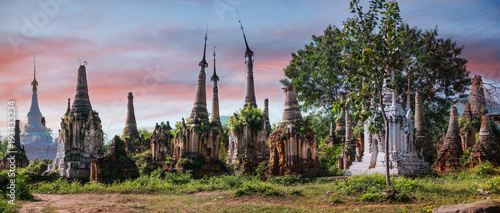 Fotografie, Tablou Indein Pagoda, a group of ruinous pagoda located at Indein village, Inlay Lake,