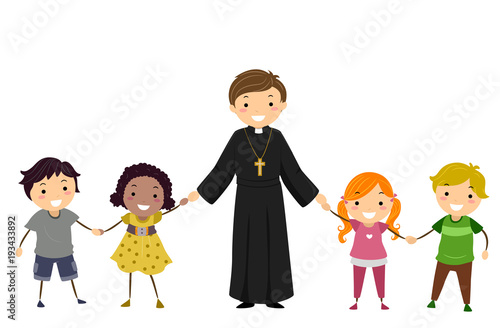 Man Priest Stickman Kids Hold Hands Illustration Fototapeta
