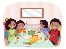 Stickman Family Meal Illustrat...