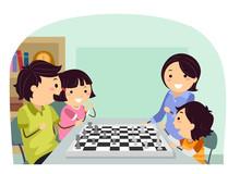 Stickman Family Play Chess Illustration
