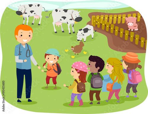 In de dag Indiërs Stickman Kids Livestock Vet Illustration