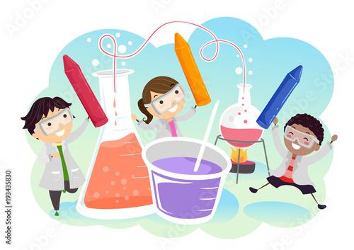 Stickman Kids Lab Colors Experiment Illustration - Buy