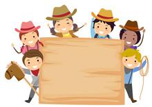 Stickman Kids Cowboy Board Illustration