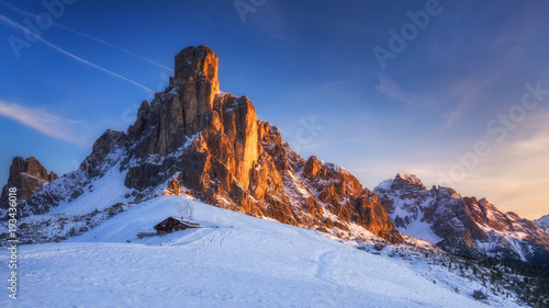 Winter in the Dolomites, Northern Italy Tablou Canvas