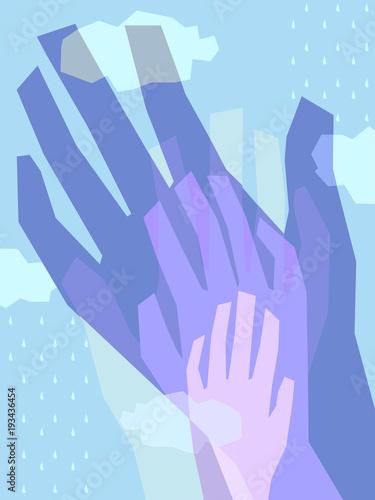 Photo Poster Design Helping Hands Illustration