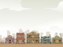 Old West Ghost Town Background Illustration