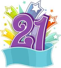 Number 21 Party Star Design Illustration