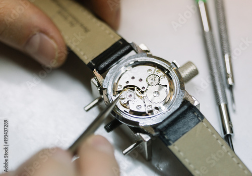 Close up of wrist watch repairing