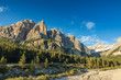Beautiful view on monumental peaks in Dolomites mountains,Italy