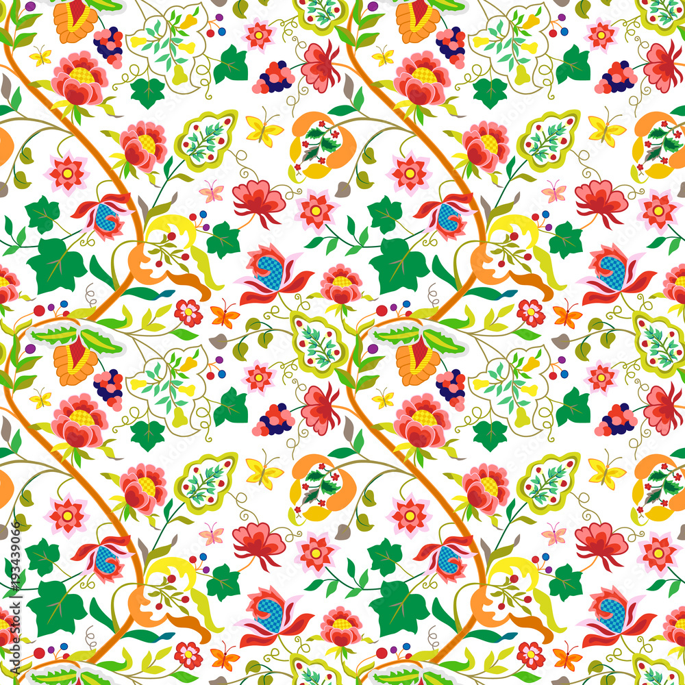 Folk flowers vintage style seamless pattern. Trendy floral pattern in the many kind of flowers, grapes and butterfly. Vector texture