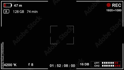 Valokuva  Interface viewfinder digital camera settings on a black background