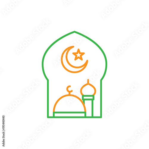 Great Mosque With Crescent Moon And Star For Islam Symbol Simple