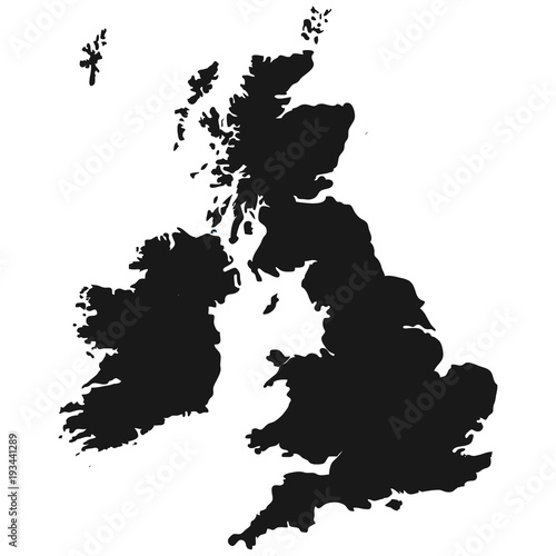 The Great Britain map in gray on a white background Wallpaper Mural