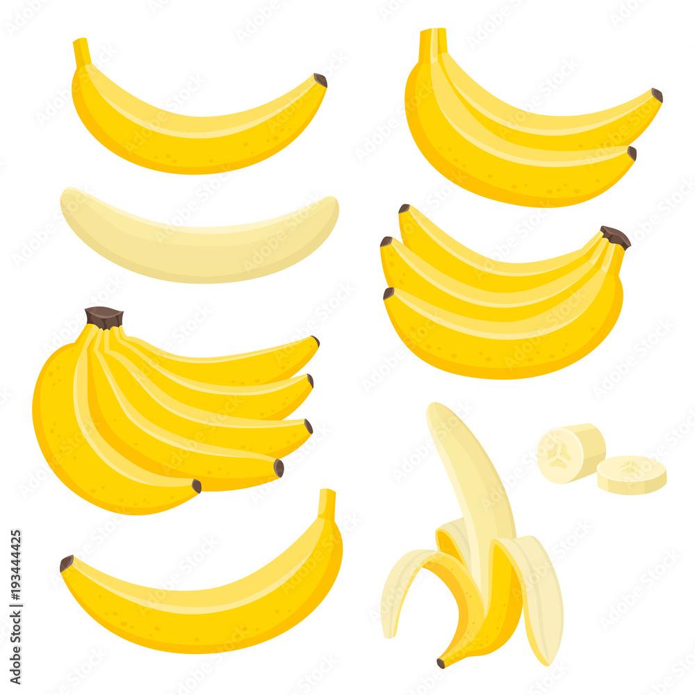 Fotografie, Obraz Vector set of bunches of fresh banana isolated on white