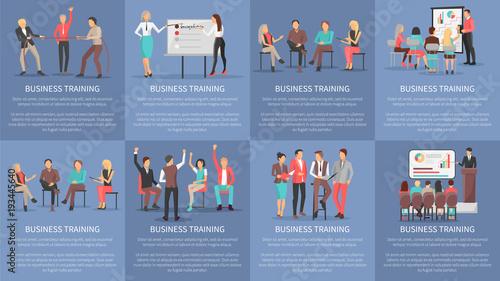 Foto  Business Training Seminars Set of Posters Vector