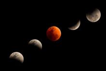 Step Of Lunar Eclipse. Super Blue Blood Moon