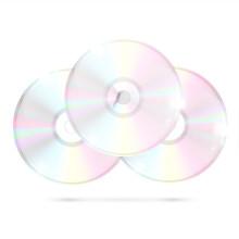 3 CDs/DVDs On White Background, Vector Illustration