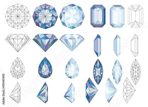 Purpule DiaPurpule Diamond Crystals Vector Clip Art Set of 8 Gemstone illustrati Canvas-taulu