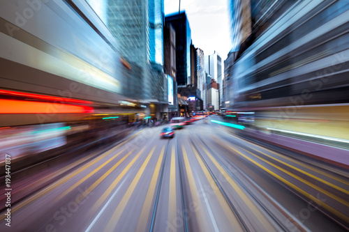 Blurred Motion Travel in Business District of Hong Kong Poster