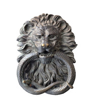 Medieval Door Knocker In A Form Of Iron Lion Head Isolated On White Background Closeup