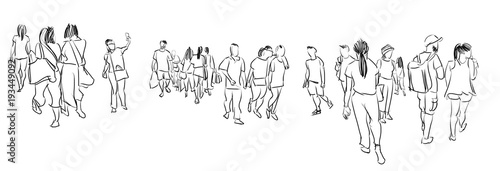 Fotomural group of people walking free hand sketch panorama view isolated on white backgro