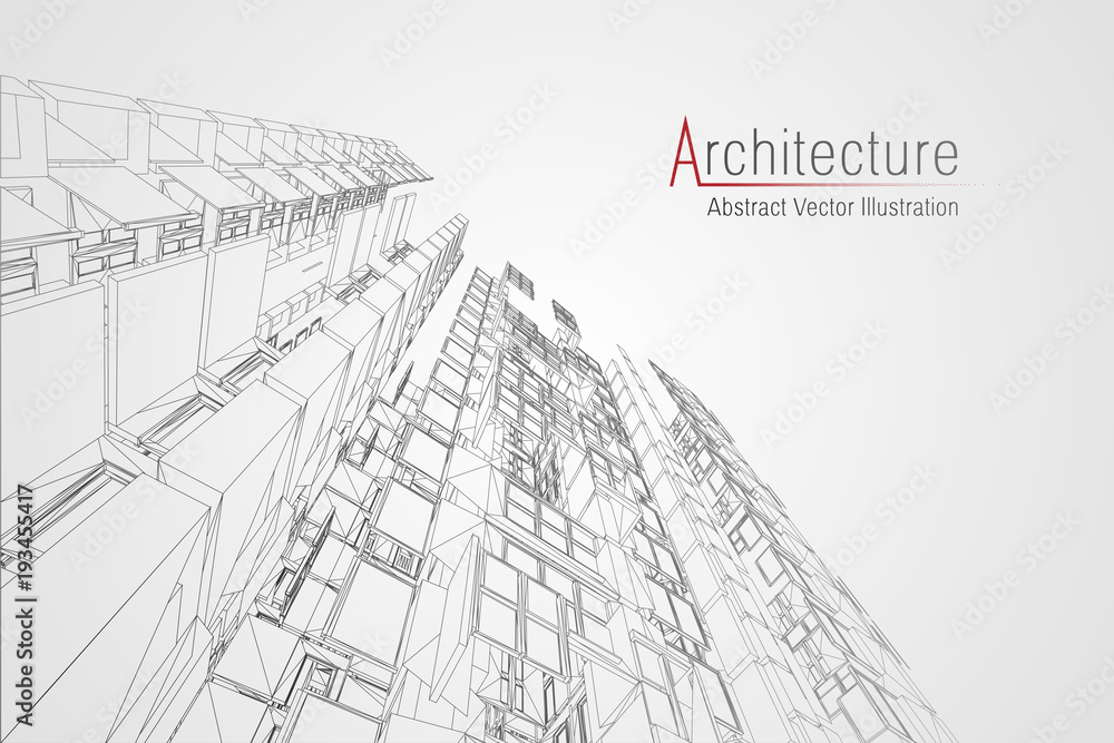 Fototapeta Modern architecture wireframe. Concept of urban wireframe. Wireframe building illustration of architecture CAD drawing.